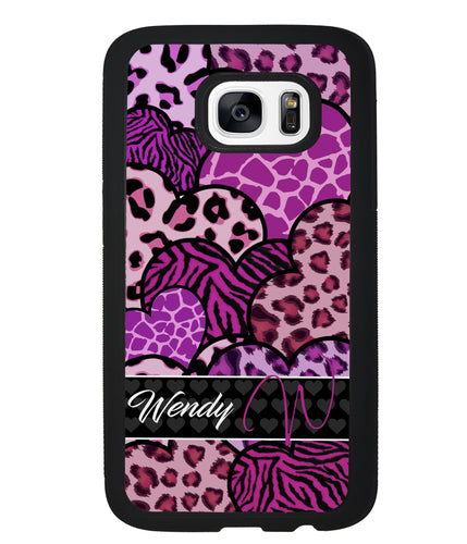 Animal Skin Hearts Personalized | Samsung Phone Case