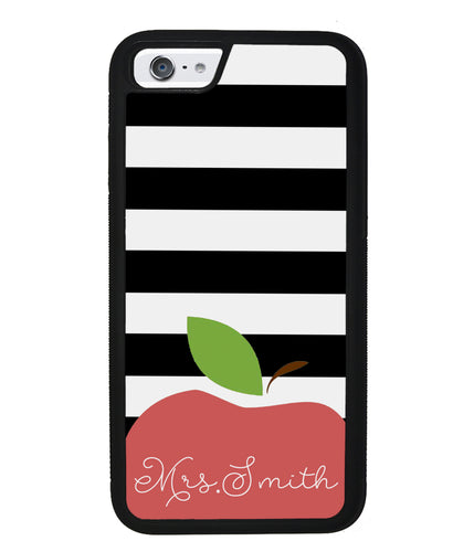 Teachers Appreciation Gift Apple Black and White Bars Personalized | Apple iPhone Case