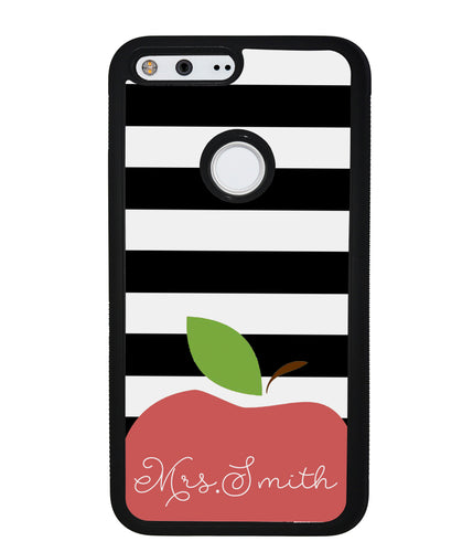 Teachers Appreciation Gift Apple Black and White Bars Personalized | Google Phone Case