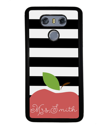 Teachers Appreciation Gift Apple Black and White Bars Personalized | LG Phone Case