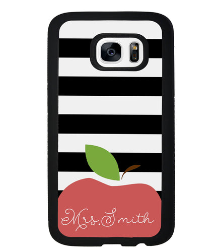 Teachers Appreciation Gift Apple Black and White Bars Personalized | Samsung Phone Case