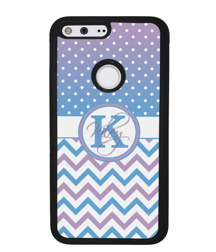 Aqua Lilac Personalized Chevron | Google Phone Case