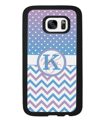 Aqua Lilac Personalized Chevron | Samsung Phone Case