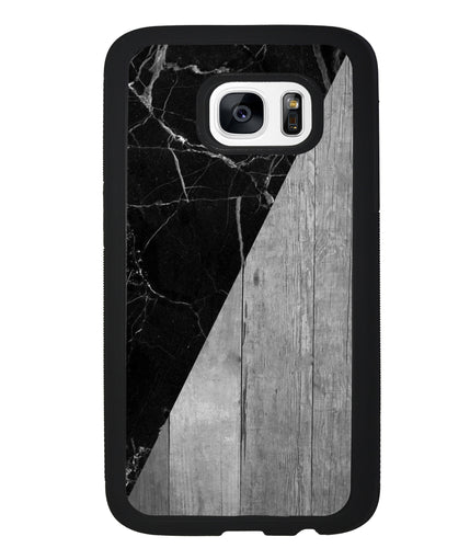 Black Marble and Grey Wood | Samsung Phone Case