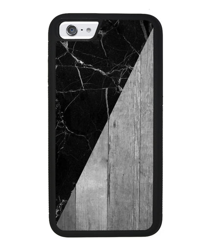 Black Marble and Grey Wood | Apple iPhone Case