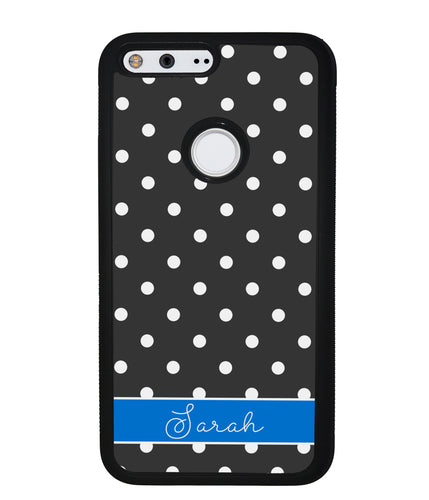 Black Polka Dot Blue Personalized | Google Phone Case