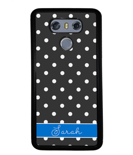 Black Polka Dot Blue Personalized | LG Phone Case
