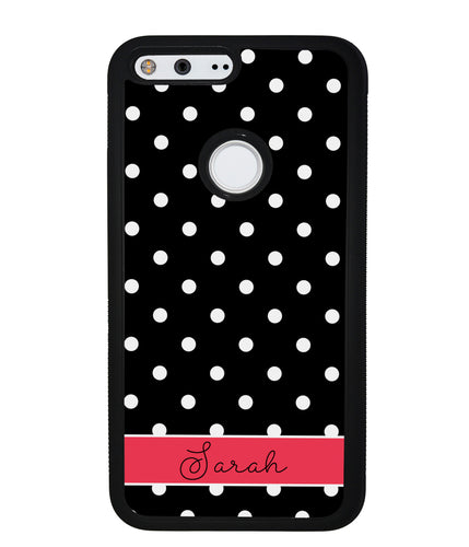 Black Polka Dot Red Personalized | Google Phone Case