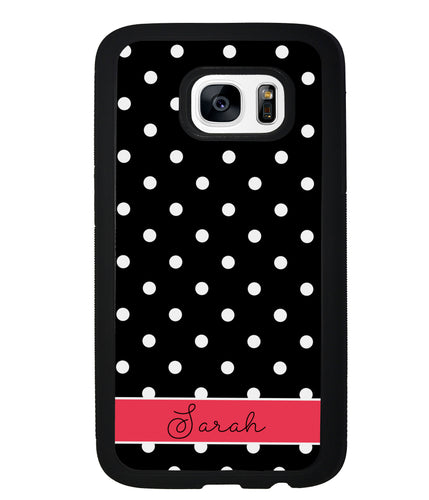 Black Polka Dot Red Personalized | Samsung Phone Case