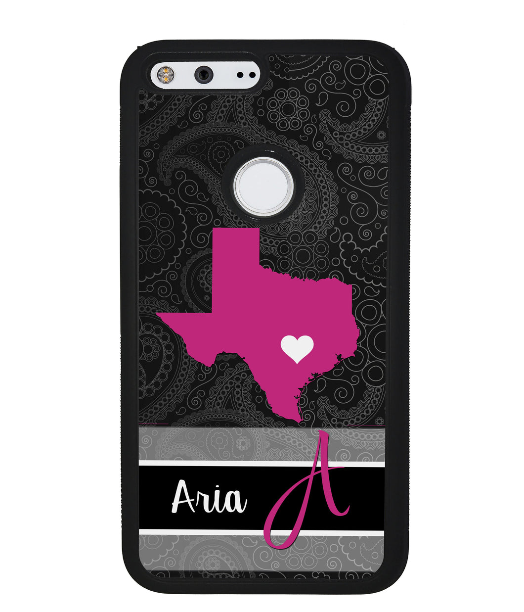 Black White French Pattern State Love | Google Phone Case