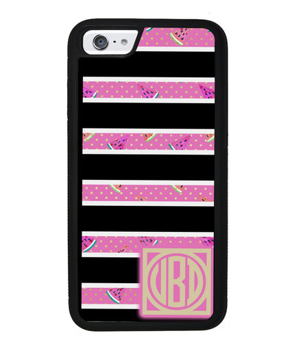 Black White Watermelon Bars Monogram | Apple iPhone Case