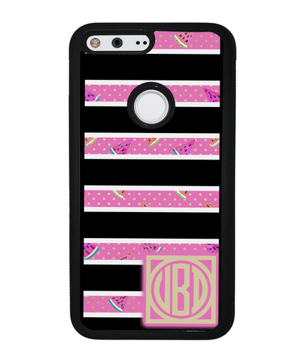 Black White Watermelon Bars Monogram | Google Phone Case