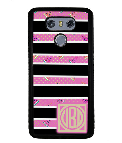 Black White Watermelon Bars Monogram | LG Phone Case