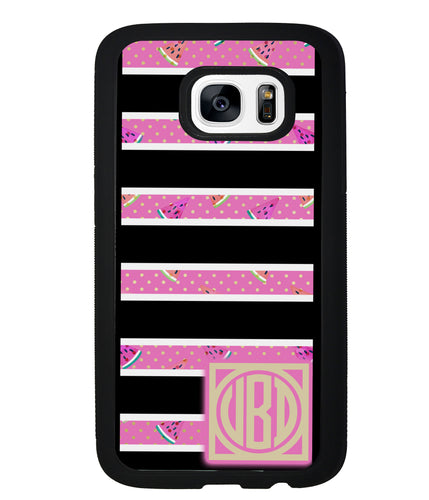 Black White Watermelon Bars Monogram | Samsung Phone Case