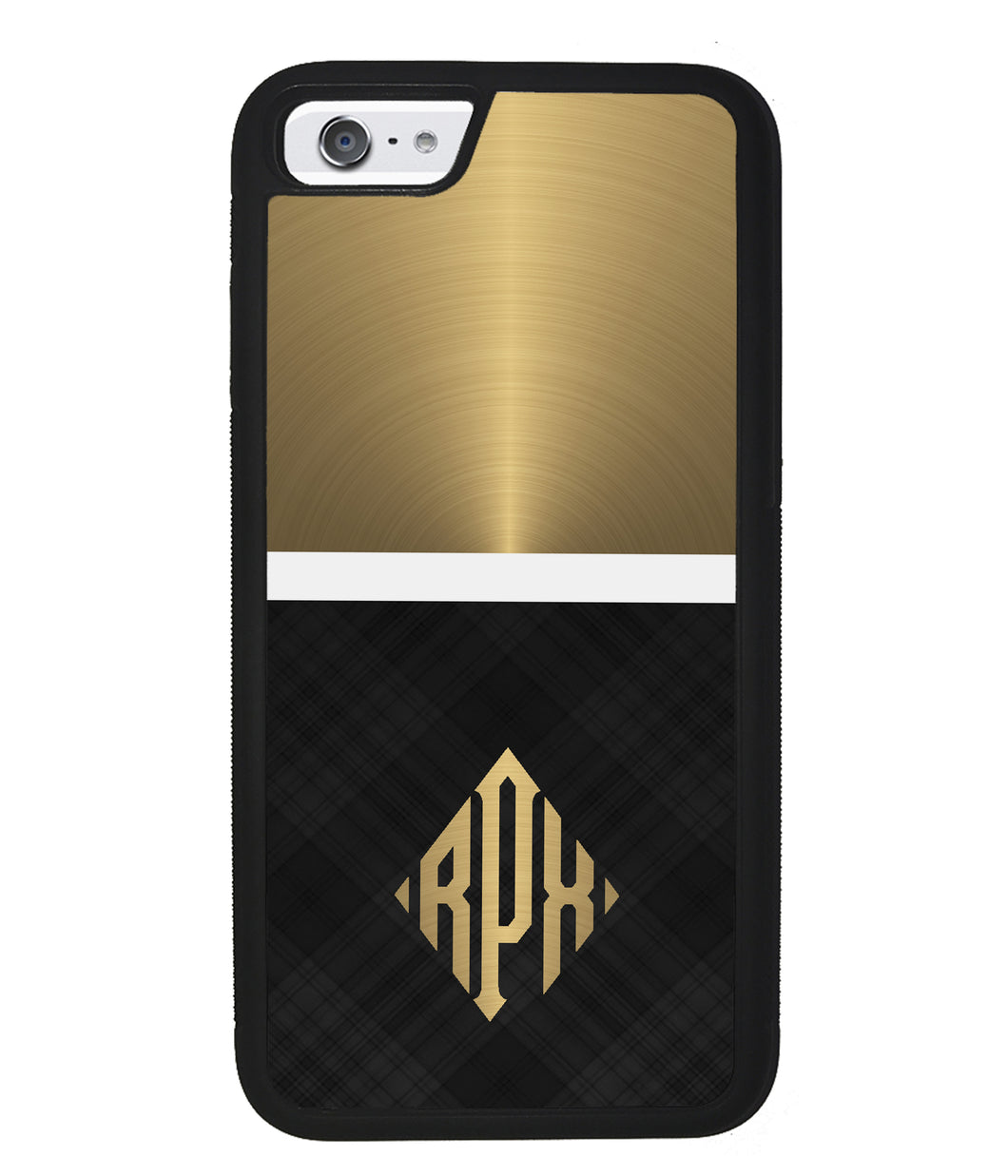 Gold and Black Plaid - Triangle Monogram | Apple iPhone Case