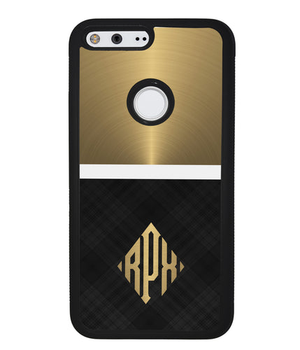 Gold and Black Plaid - Triangle Monogram | Google Case