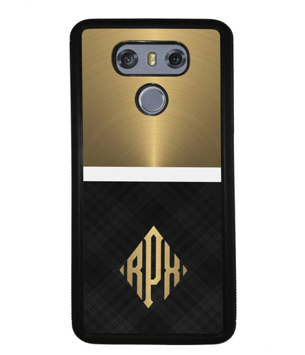 Gold and Black Plaid - Triangle Monogram | LG Case