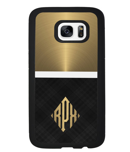 Gold and Black Plaid - Triangle Monogram | Samsung Case