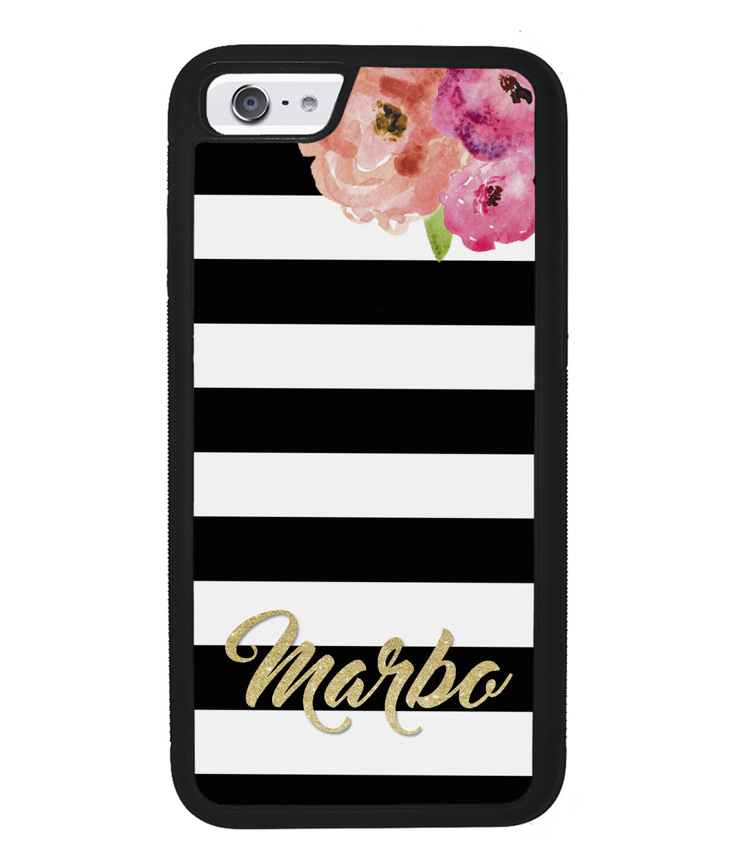 Black & White Bars - Flowers and Gold Personalized | Apple iPhone Case