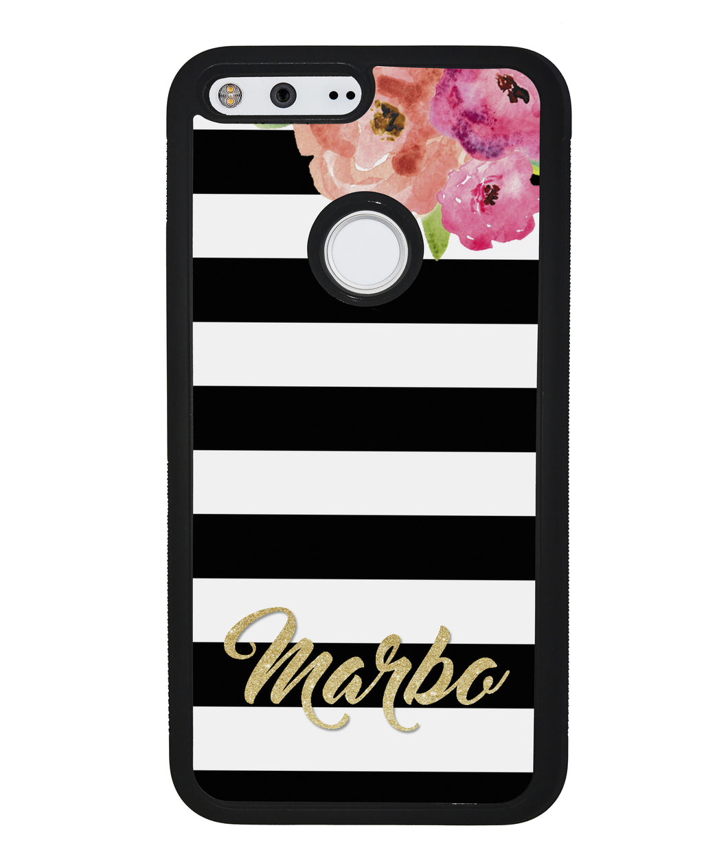 Black & White Bars - Flowers and Gold Personalized | Google Phone Case