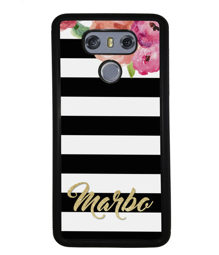 Black & White Bars - Flowers and Gold Personalized | LG Phone Case