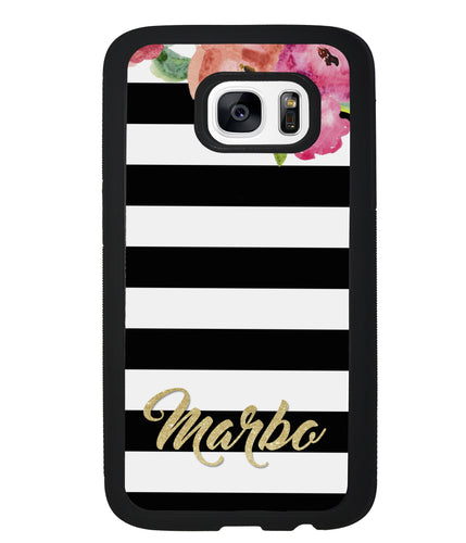 Black & White Bars - Flowers and Gold | Samsung Case