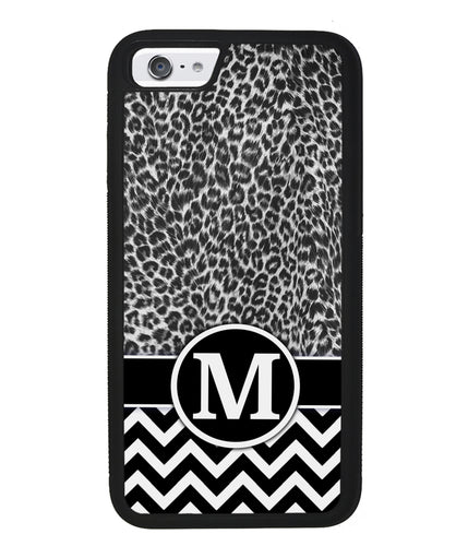 Black and White Leopard Skin Chevron Initial | Apple iPhone Case