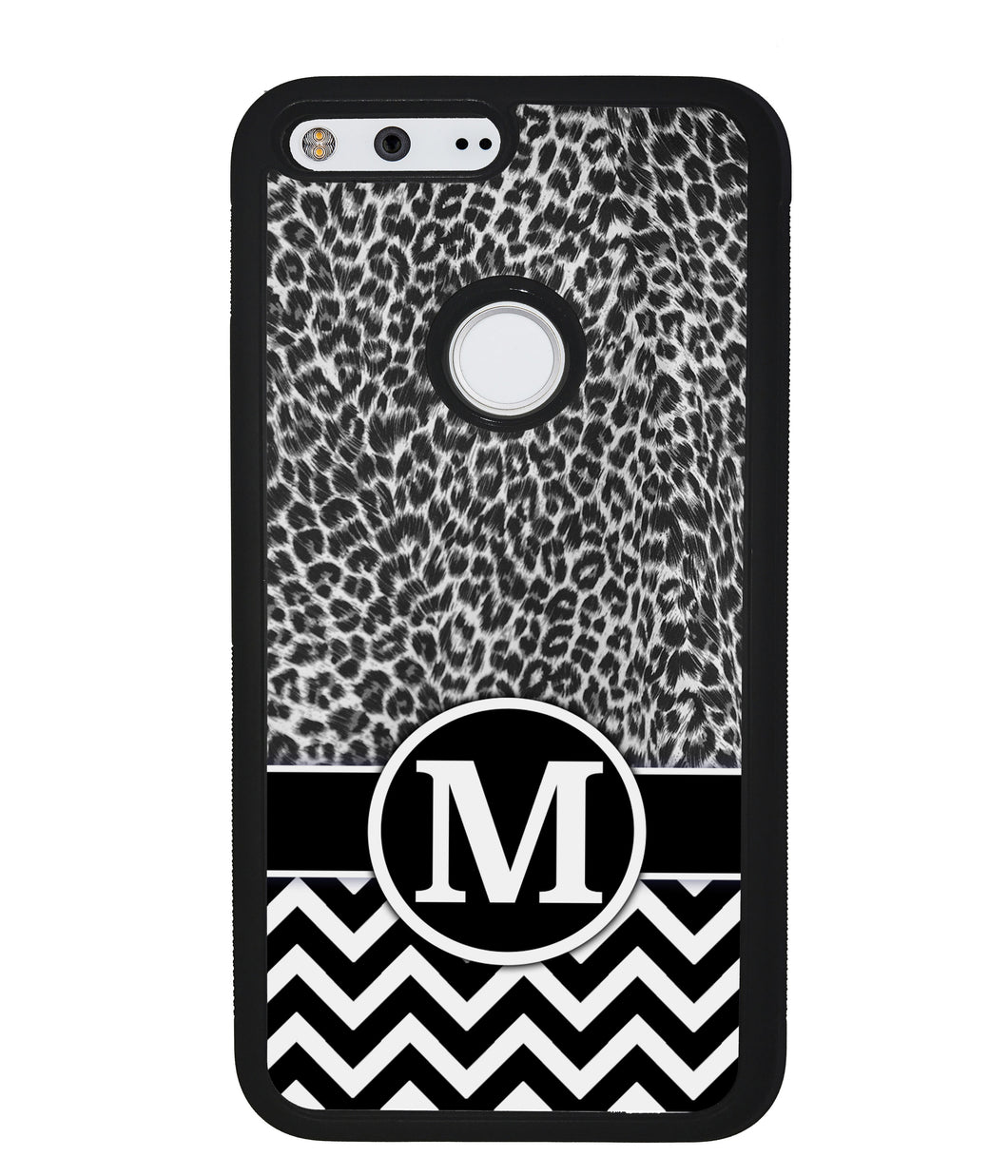 Black and White Leopard Skin Chevron Initial | Google Phone Case