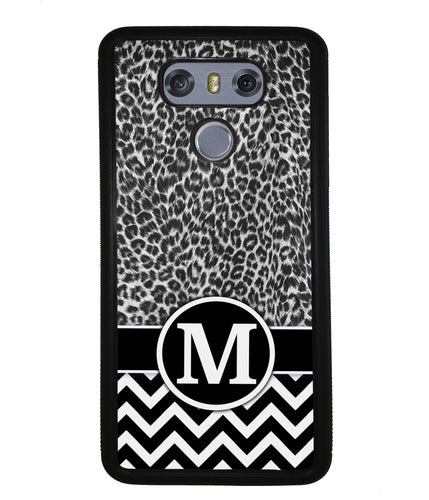 Black and White Leopard Skin Chevron Initial | LG Phone Case