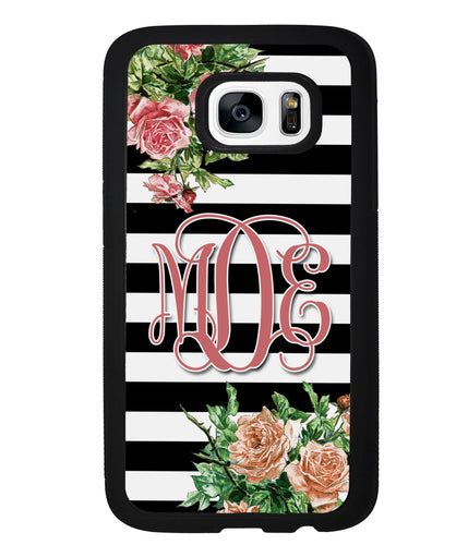 Vintage Pretty Flower Bars Monogram | Samsung Phone Case
