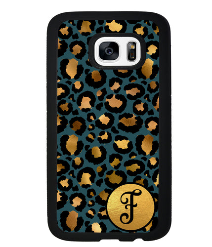 Blue Gold Foil Leopard Skin Personalized | Samsung Phone Case