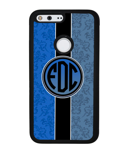 Blue Damask Monogram | Google Phone Case