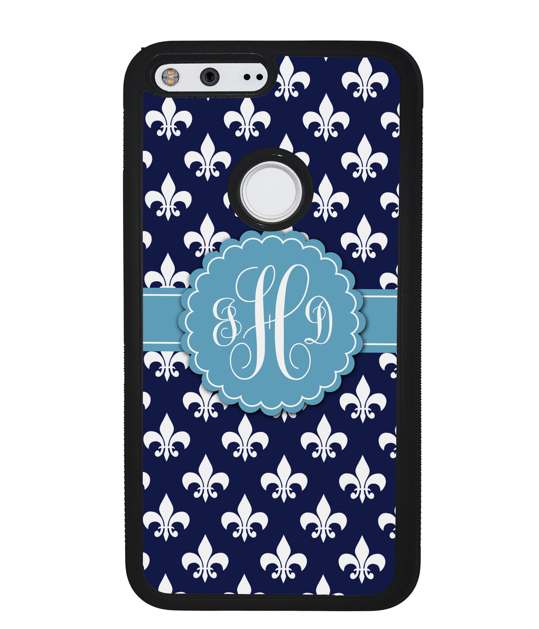 Blue Fleur De Lis Monogram | Google Phone Case