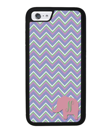 Blue Green Red Elephant Chevron Initial | Apple iPhone Case