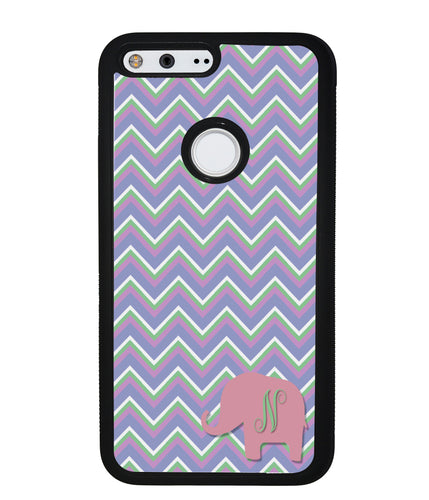 Blue Green Red Elephant Chevron Initial | Google Phone Case