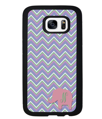 Blue Green Red Elephant Chevron Initial | Samsung Phone Case