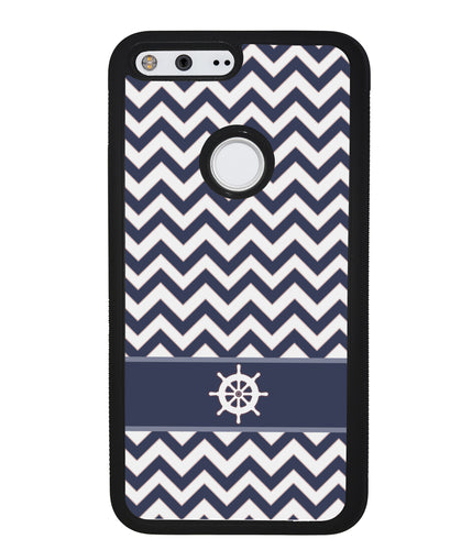 Blue Nautical Blue Nautical Helm Chevron | Google Phone Case