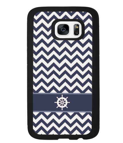 Blue Nautical Helm Chevron | Samsung Phone Case