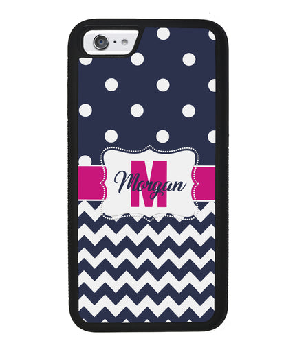 Blue Polka Dot Chevron Pink Personalized | Apple iPhone Case