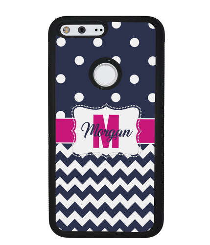 Blue Polka Dot Chevron Pink Personalized | Google Phone Case