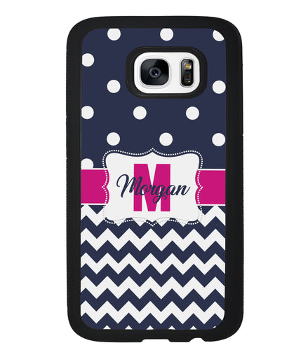 Blue Polka Dot Chevron Pink Personalized | Samsung Phone Case