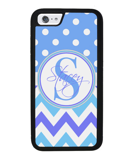 Blue Shades Chevron Polkadot Personalized | Apple iPhone Case