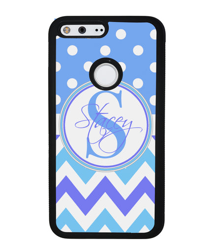Blue Shades Chevron Polkadot Personalized | Google Case