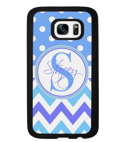 Blue Shades Chevron Polkadot Personalized | Samsung Phone Case