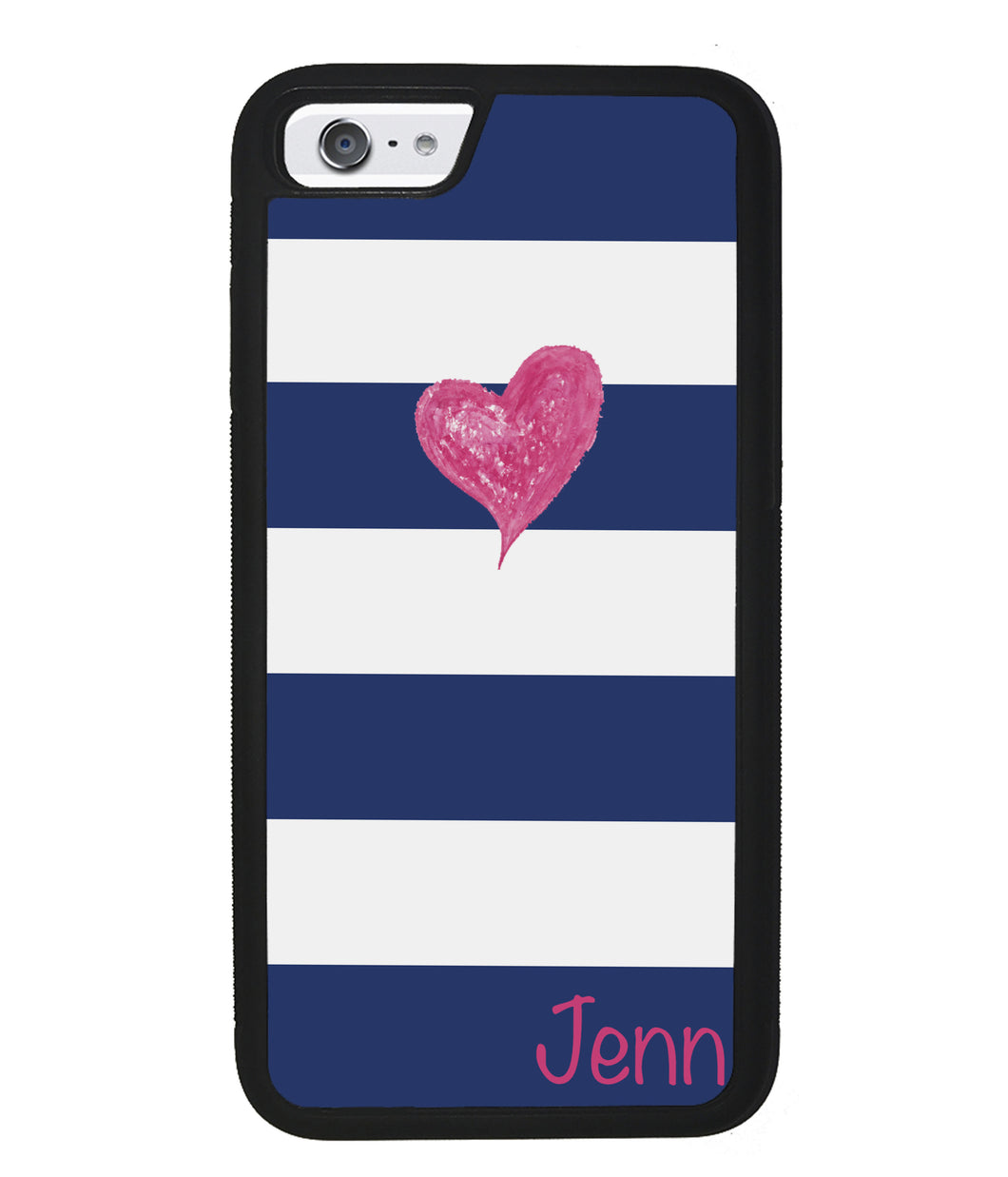 Blue White Bar Pink Heart Personalized | Apple iPhone Case