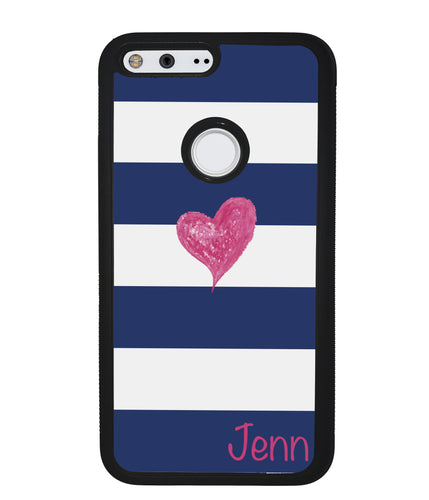 Blue White Bar Pink Heart Personalized | Google Case