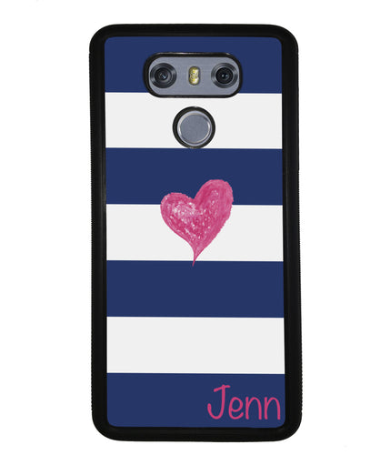 Blue White Bar Pink Heart Personalized | LG Phone Case