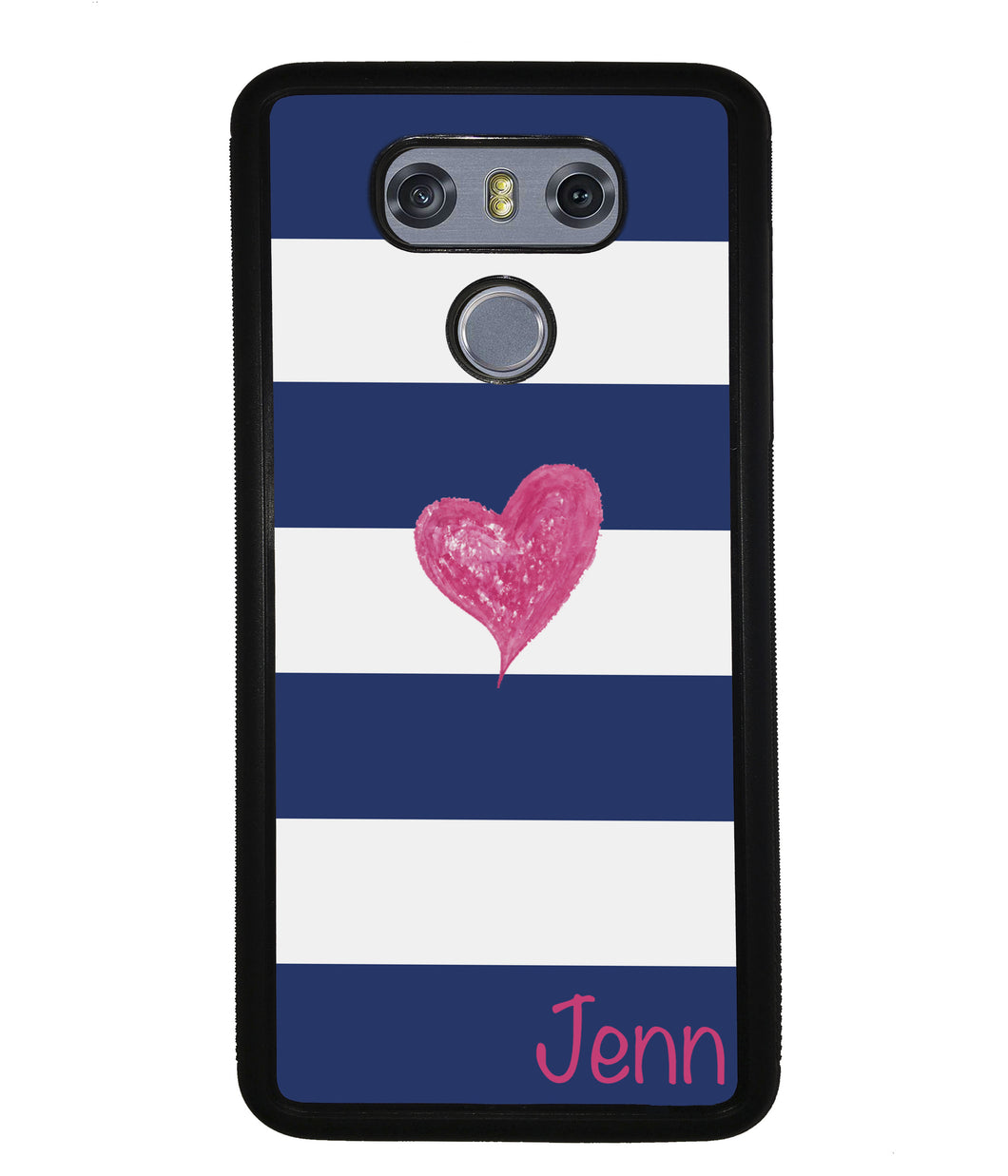 Blue White Bar Pink Heart Personalized | LG Case