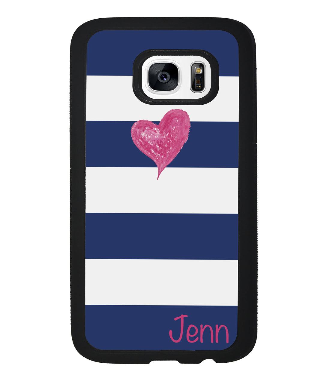 Blue White Bar Pink Heart Personalized | Samsung Phone Case