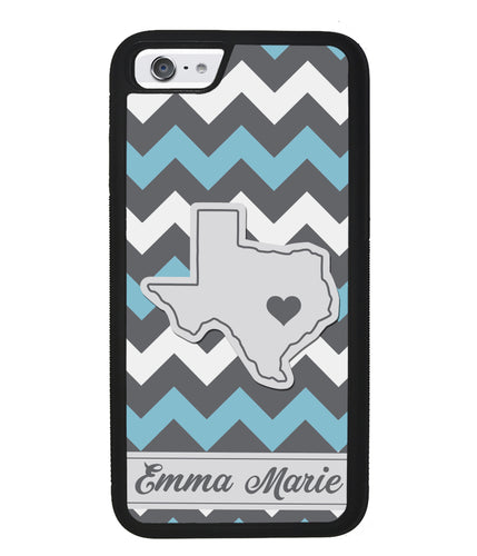 Blue White Gray State Chevron Personalized | Apple iPhone Case